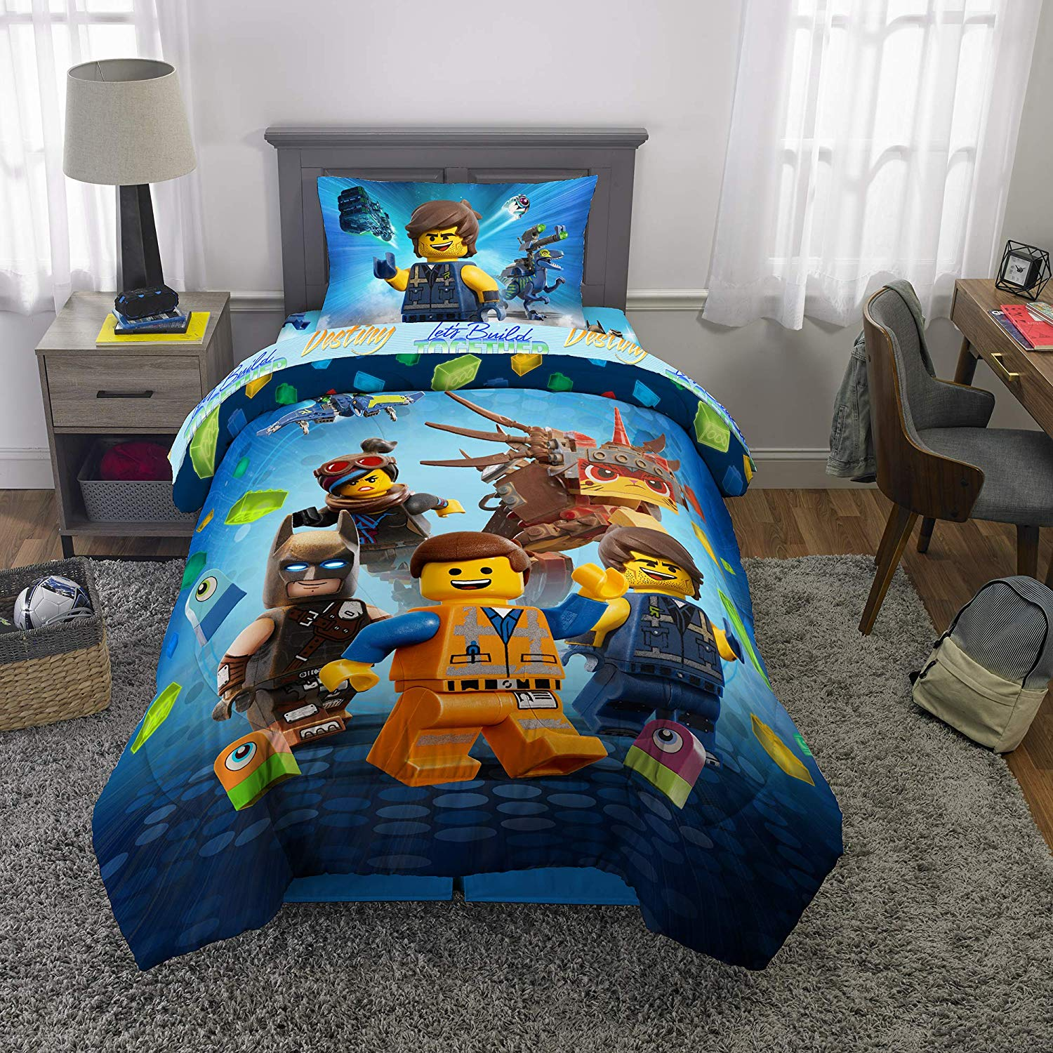 LEGO Movie 2 Full Reversible Comforter and 4 Piece Full Sheet Set with Throw