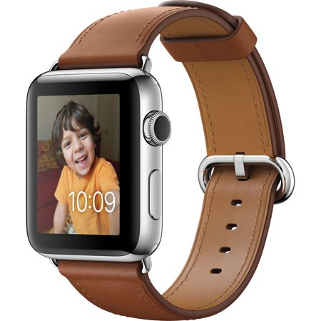 Bent Steel Saddle (Refurbished Watch Series 2 42mm Apple Stainless Steel Case Saddle Brown Classic Buckle Band)