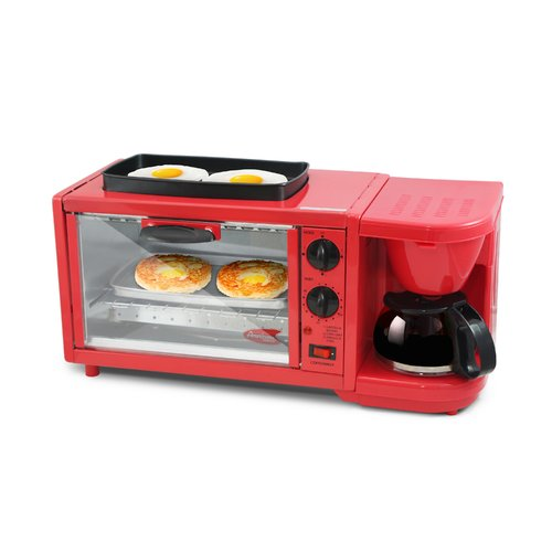 Americana by Elite 3 in 1 Extra Large Breakfast Center, Coffee, Toaster Oven, Griddle,