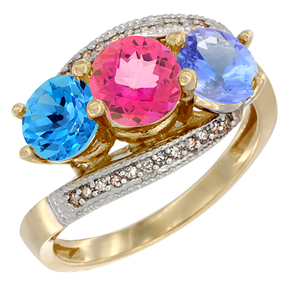 10K Yellow Gold Natural Swiss Blue Topaz, Pink Topaz & Tanzanite 3 stone Ring Round 6mm Diamond Accent, sizes 5 10 by WorldJewels