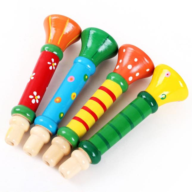 Iuhan Multi-Color Baby kids Wooden Horn Hooter Trumpet Instruments Music Toys