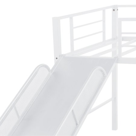 JUMPER Twin Bed Twin Metal Loft Bed with Strong Slide Low Loft Beds for Kids, No Box Spring Needed, Multiple Colors