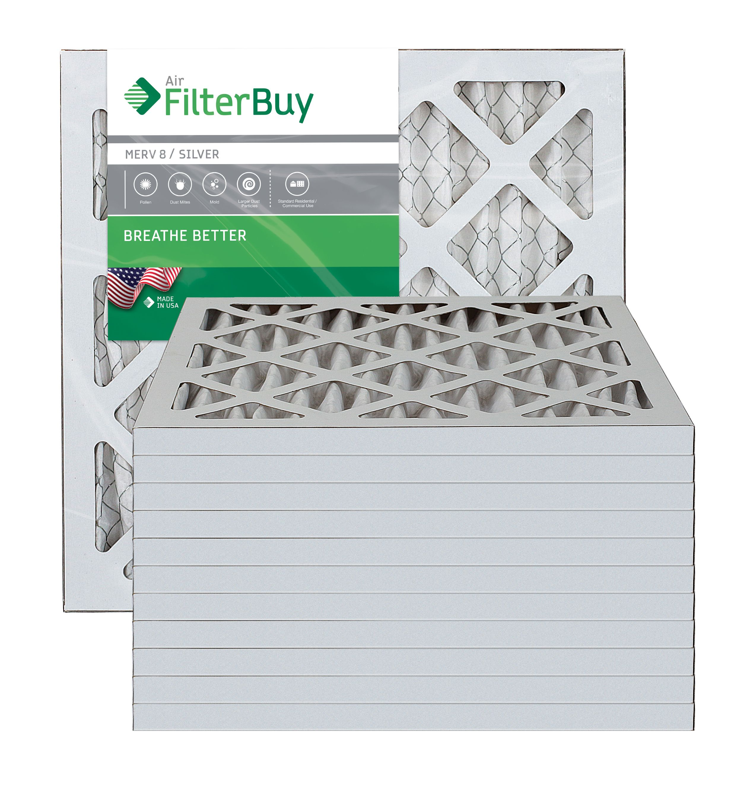 AFB Silver MERV 8 10x18x1 Pleated AC Furnace Air Filter. Pack of 12 Filters. 100% produced in the USA.