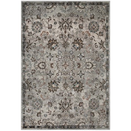 Image of Modway Hana Distressed Vintage Floral Lattice 8x10 Area Rug in Silver Blue, Beige and Brown