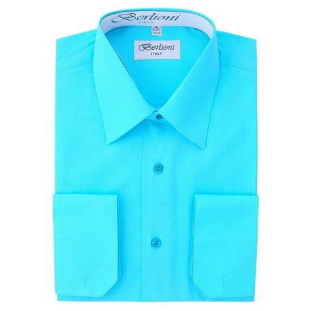 Berlioni Italy Men's Convertible Cuff Solid Dress Shirt Aqua