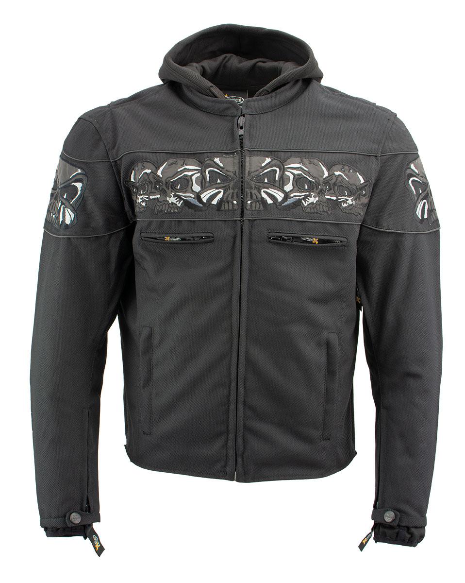 SMALL Xelement Invasion Men/'s Black Mesh Armored Motorcycle Jacket Gun Pocket
