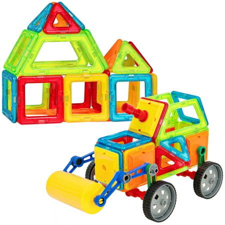 Best Choice Products 76-Piece Kids Educational STEM Magnetic Building Block Tiles Toy Set for Color/Shape Recognition, Motor Development w/ Steamroller Truck - - Magnetic Building Set