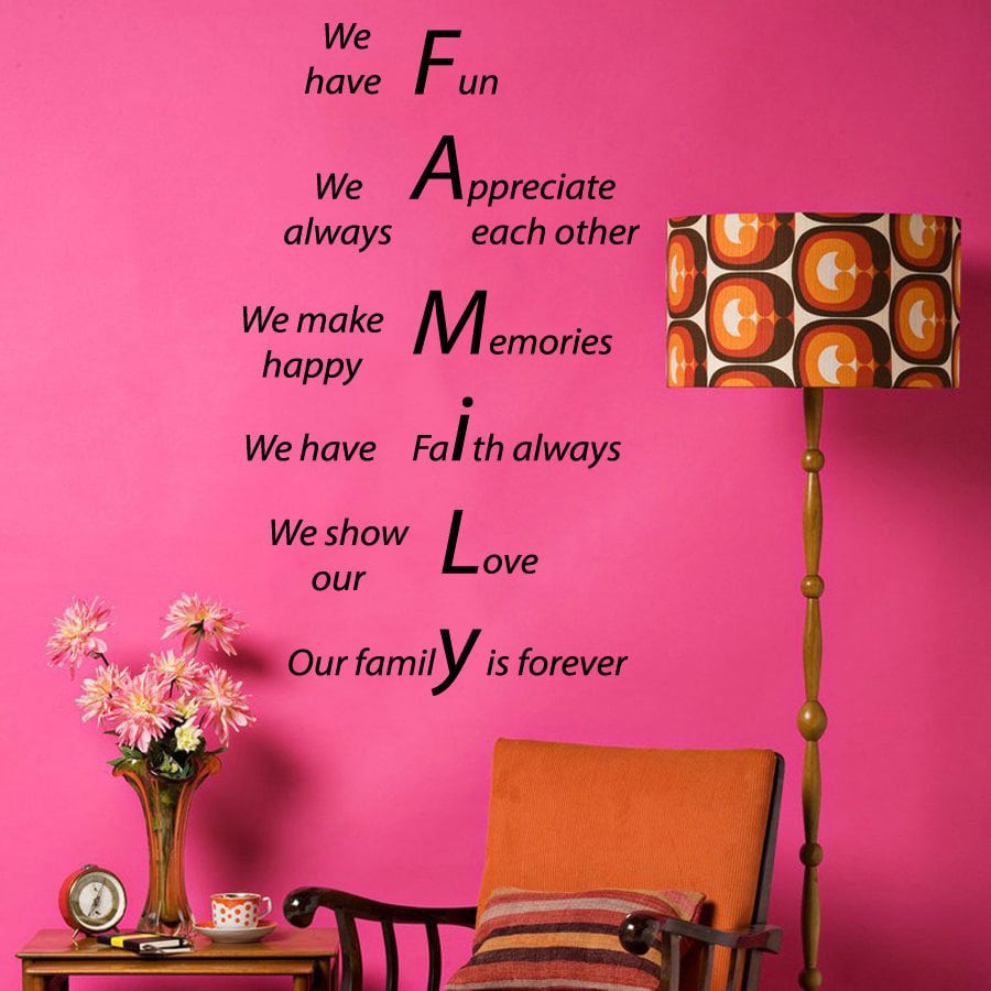 Stickalz llc Family Forever Quote Sticker Vinyl Wall Art