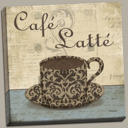 Lovely Retro Cafe Latte Hand Stretched Canvas Kitchen Decor One