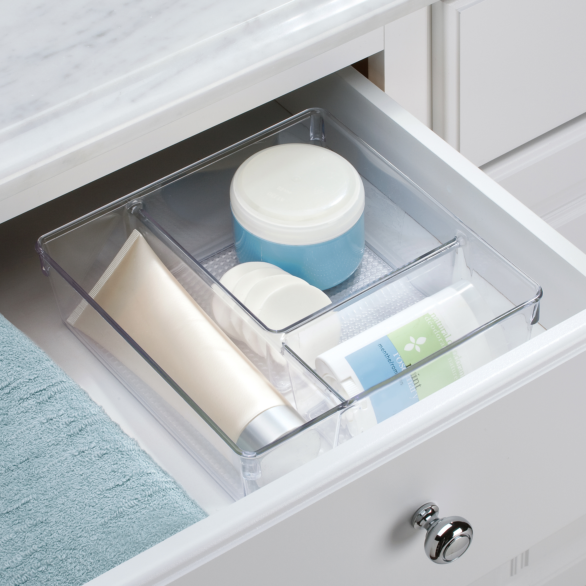 InterDesign Clarity Cosmetic Organizer for Vanity Cabinet to Hold Makeup, Beauty Products, Clear