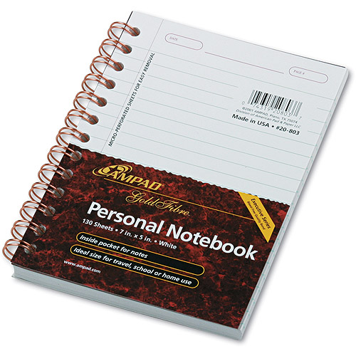 Ampad Gold Fibre Personal Notebook, College/Med Rule, 5x7, 130 Sheet