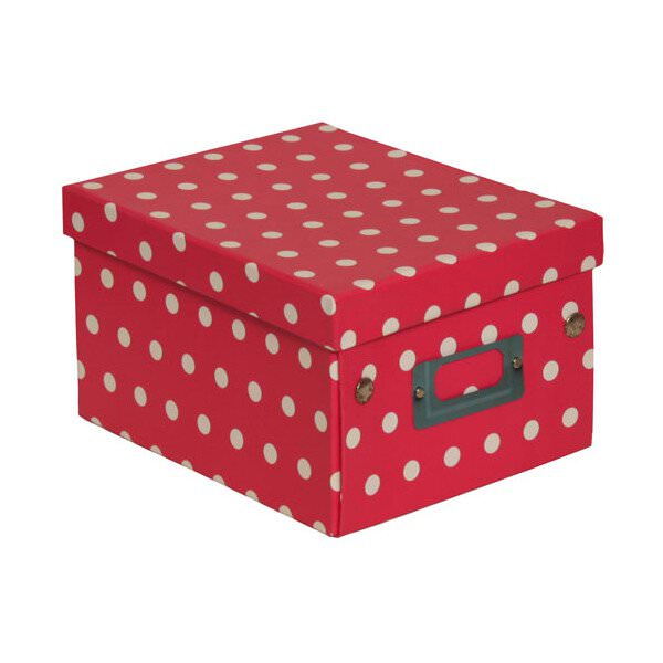 JAM Paper® Decorative Storage Box, 6 3/4 x 8 5/8 x 5 1/8, Hot Pink & White Polka Dots, Sold Individually