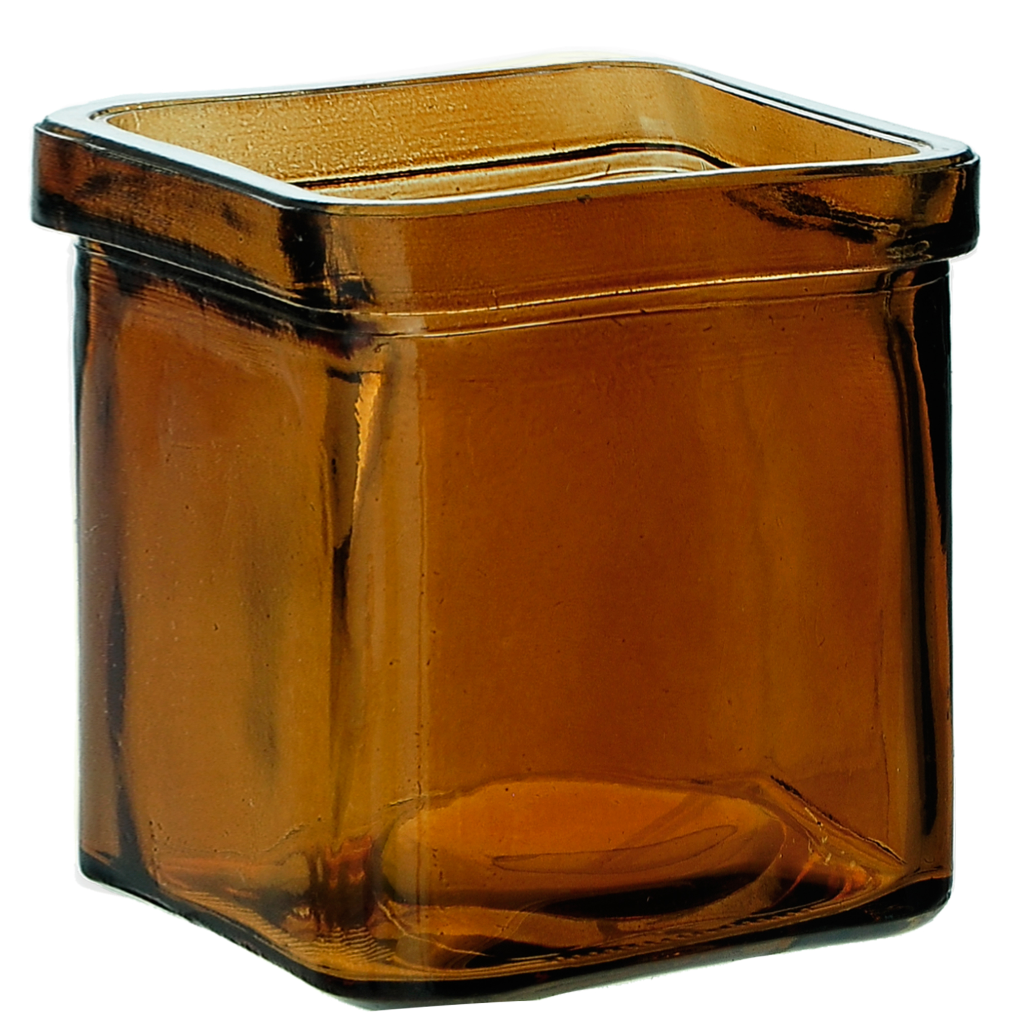Couronne Co Square Recycled Glass Candle Container, 7527, 3.25 inches tall, 8.5 Ounce Capacity