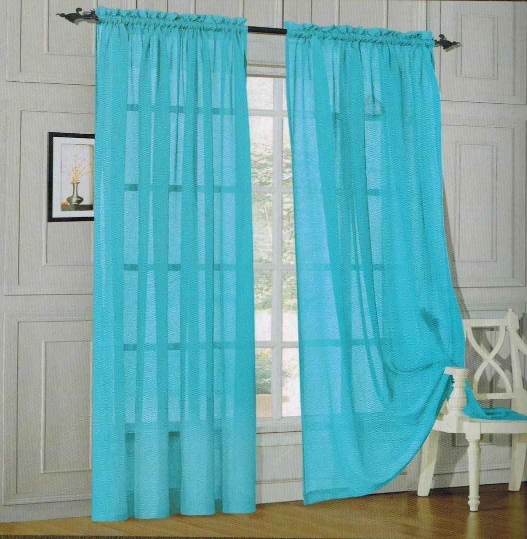 Elegant Comfort 2 Piece Solid SHEER PANEL with ROD POCKET - Window Curtain  40-inch width X 84-inch Length -  Turqouise