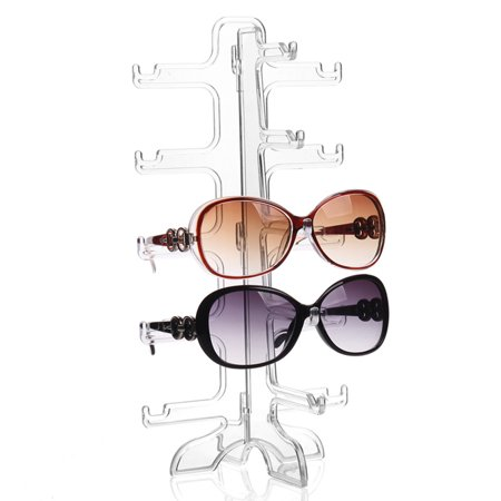 Clear 5 Pairs Glass Stand Sunglass Holder Glasses Rack Display Organizer Sunglasses Frame Shelf (Sunglass Case Holder)