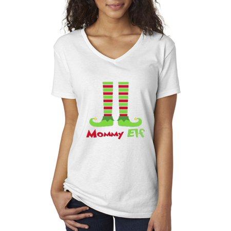 New Way 586 - Women's V-Neck T-Shirt Mommy Elf Stockings Christmas Holidays Shoes (Mommys Treasure)
