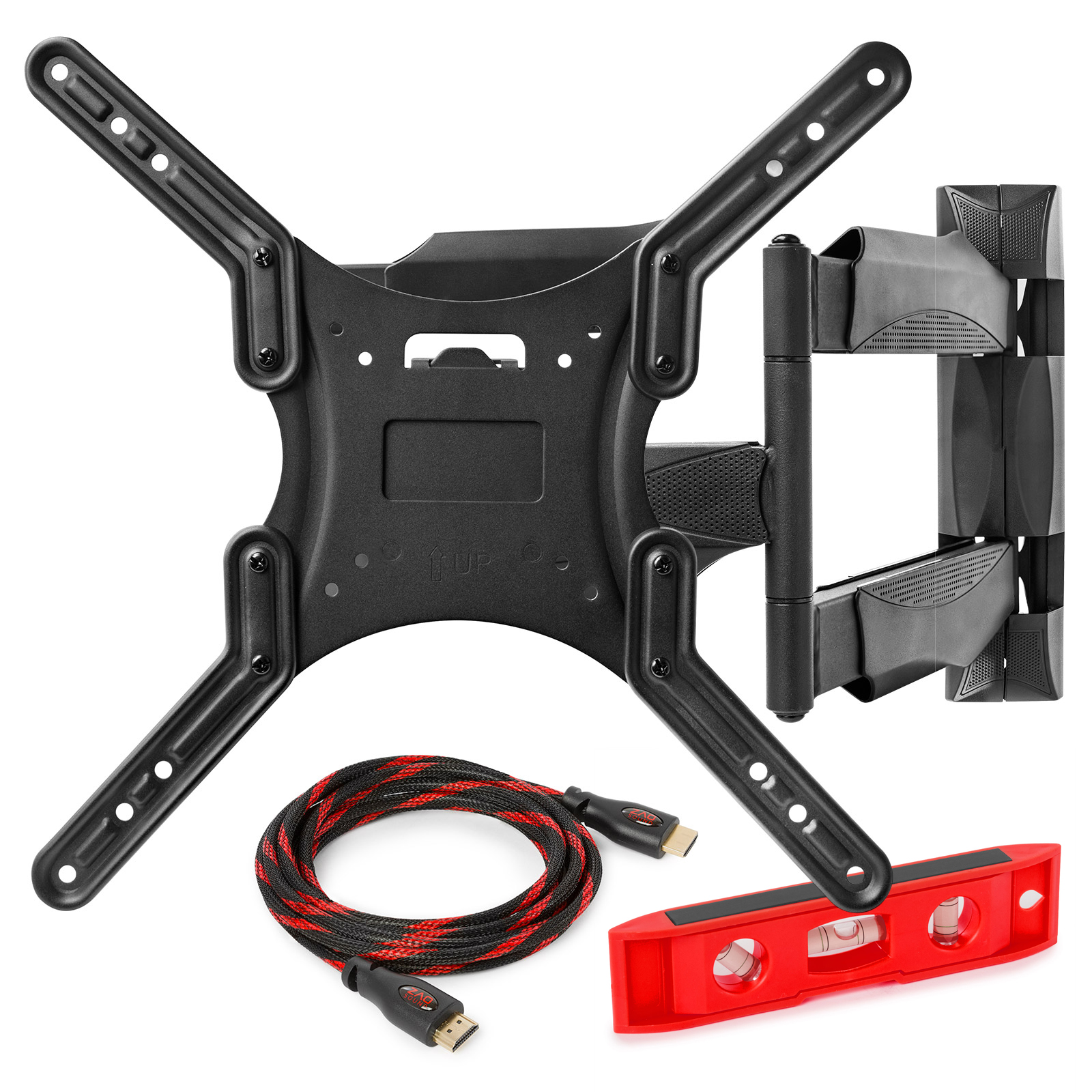 Full Motion TV Wall Mount Monitor Bracket for 22-52 Inch LED, LCD and Plasma Flat Screen Displays up to VESA 400x400. Universal Fit, Swivel, Tilt, Articulating with 10' HDMI Cable