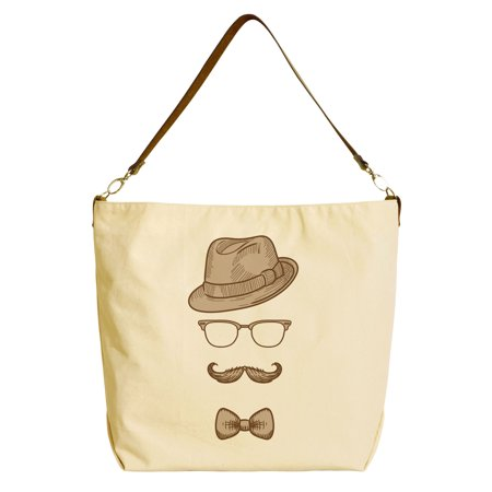 a92291201aa Mustache Retro Style -5 Beige Printed Canvas Tote Bag with Leather Strap  WAS 29 - Walmart.com