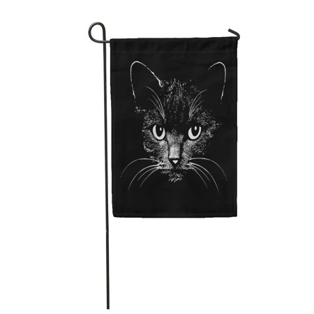 KDAGR Face Cat Head Graphic Design for Sketch Tattoo Halloween Drawing Silhouette Garden Flag Decorative Flag House Banner 12x18 inch](Halloween Cat Line Drawing)