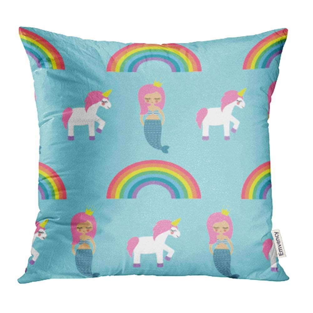 USART Mermaids Unicorns and Rainbows on Blue Holidays Cute Baby Child Drawing Pillow Case Pillow Cover 18x18 inch Throw Pillow Covers