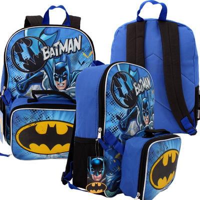 """Backpack - DC Comics - Batman Logo w/Lunch 16"""" School Bag New 682402"""