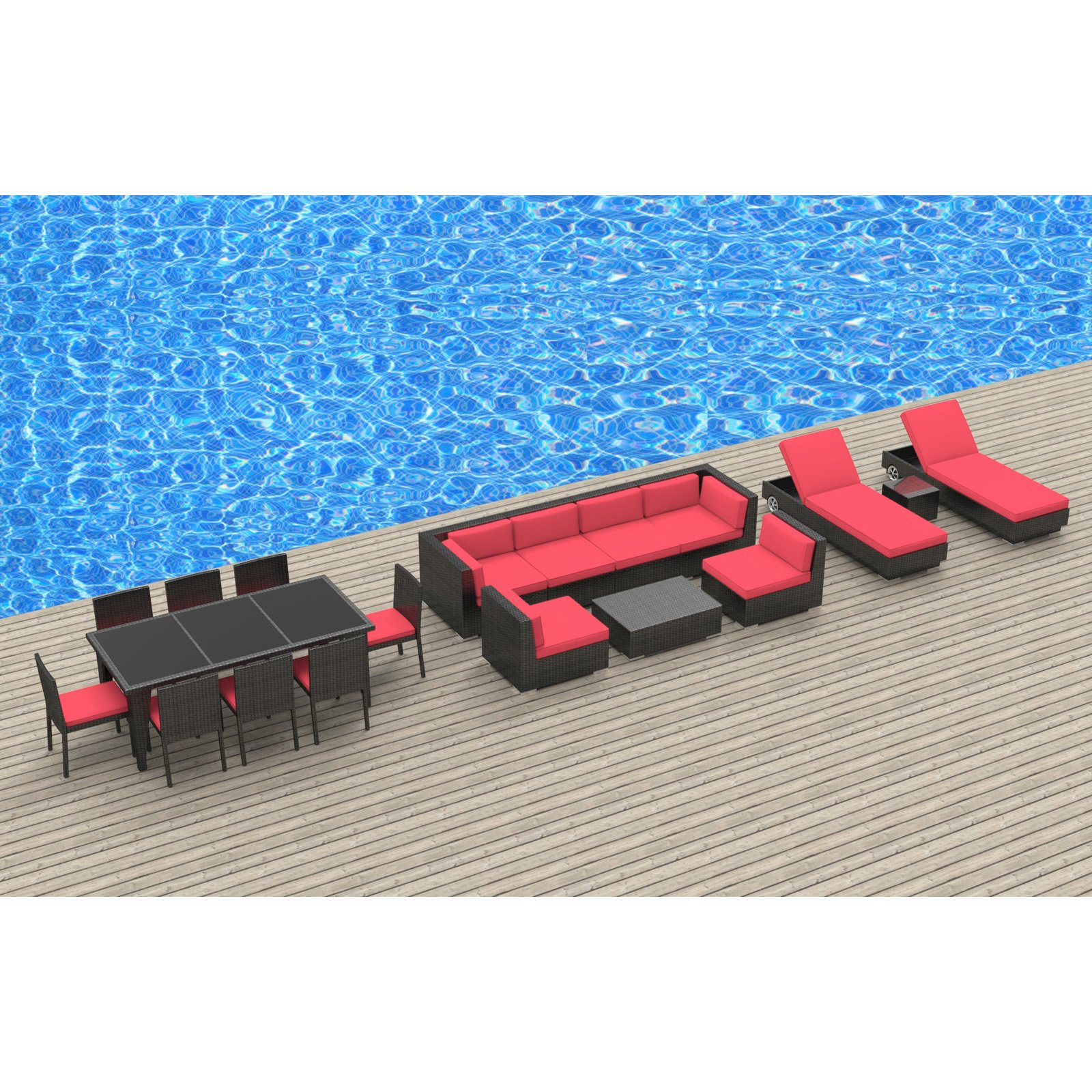 Urban Furnishing 19 Piece Outdoor Dining and Patio Furniture Set