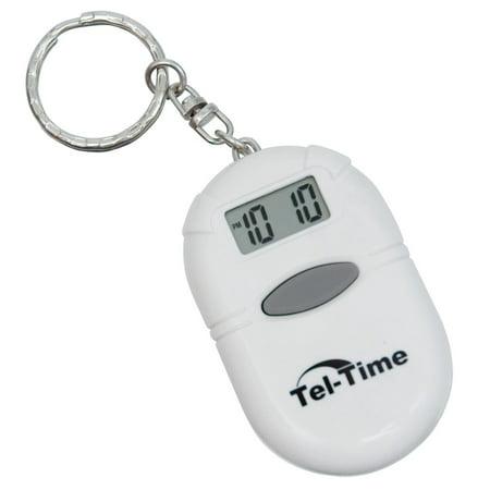 Oval Talking Alarm Clock Keychain - White