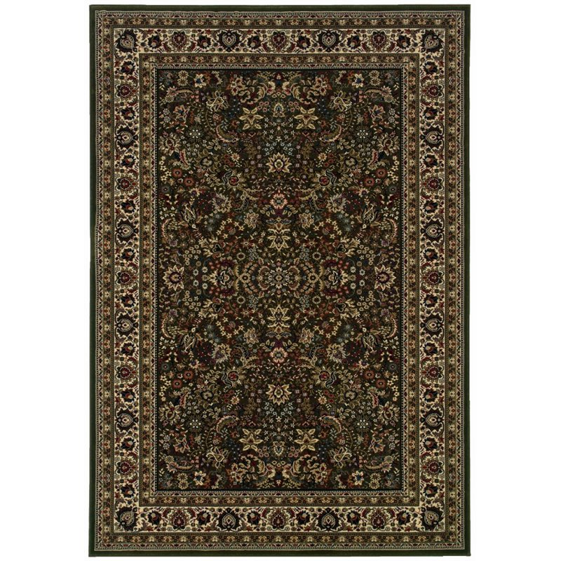 Sphinx Ariana Area Rugs - 213G8 Traditional Oriental Green Persian Flowers Leaves Border Rug