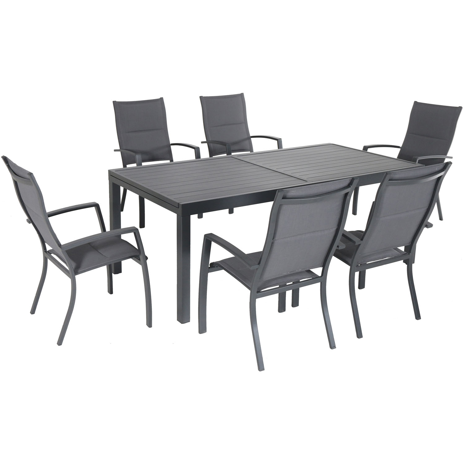 """Hanover Naples 7-Piece Outdoor Dining Set w/ 6 Padded Sling Chairs in Gray and 40"""" x 78"""" Dining Table"""