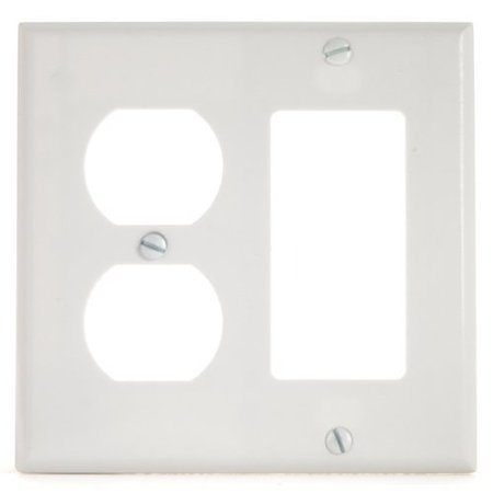 Cooper 2157W White Two Gang One Decorator One Duplex Outlet Wall Plate