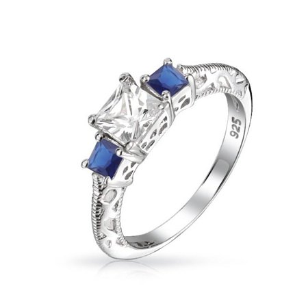 Art Deco Style Milgrain 3CT Round Solitaire 3 Stone Past Present Future Promise CZ Engagement Ring 925 Sterling Silver Art Deco Engagement Ring Settings