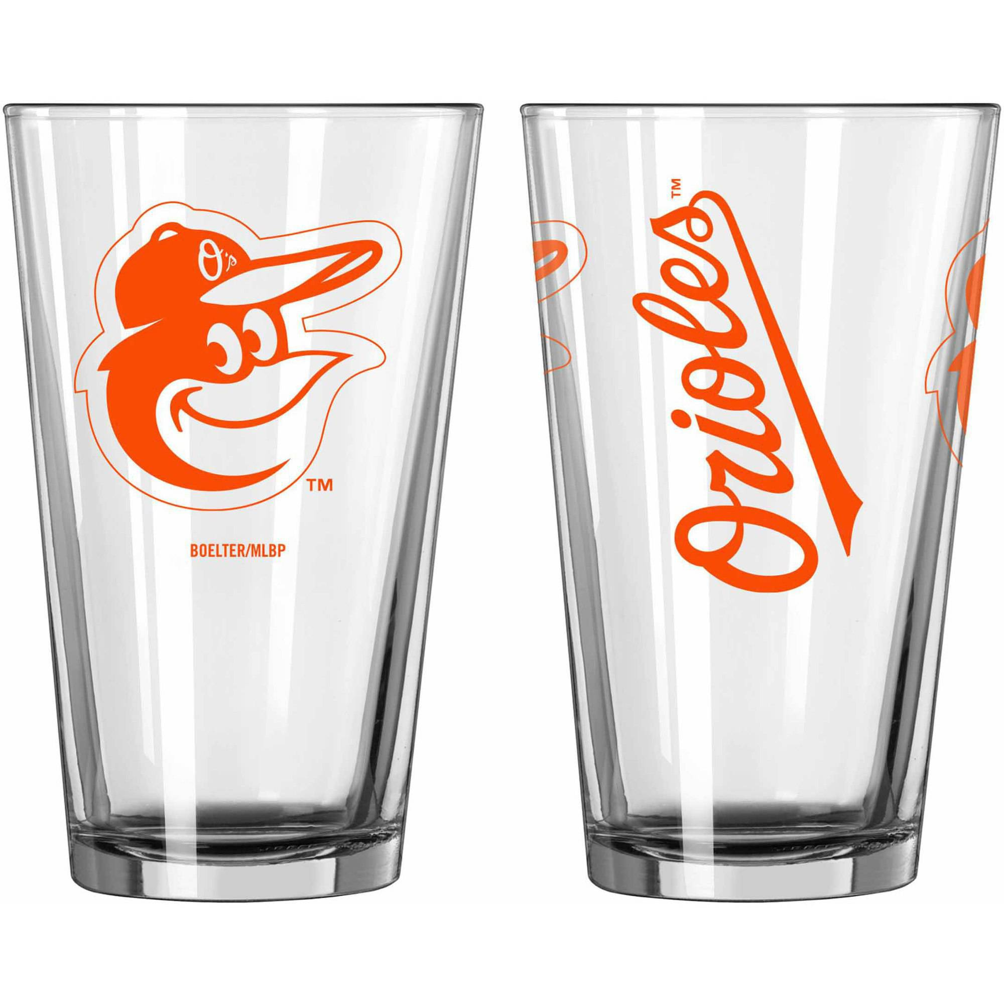 Boelter Brands MLB Set of Two 16 Ounce Game Day Pint Set, Baltimore Orioles