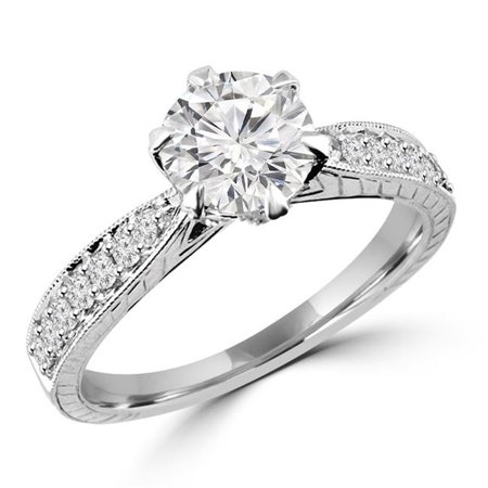 Majesty Diamonds MD170348-3.25 0.88 CTW Round Diamond Solitaire with Accents Engagement Ring in 14K White Gold, Size 3.25 - image 1 de 1