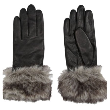 Ladies Leather Driving Gloves - Womens Black Leather Faux Fur Trimmed Driving Gloves Large