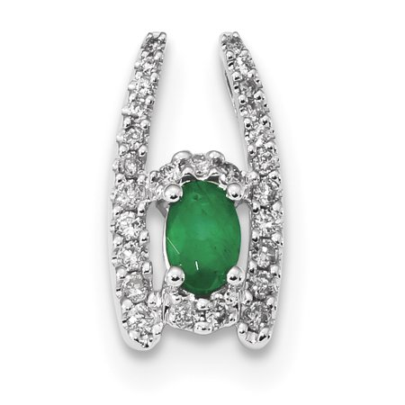 14k White Gold Diamond Green Emerald Necklace Chain Slide Pendant Charm Gemstone Gifts For Women For Her