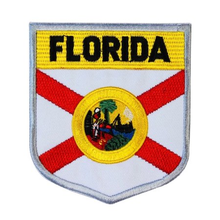 State Flag Shield Florida Patch Badge Travel USA Embroidered Iron On - Florida Applique