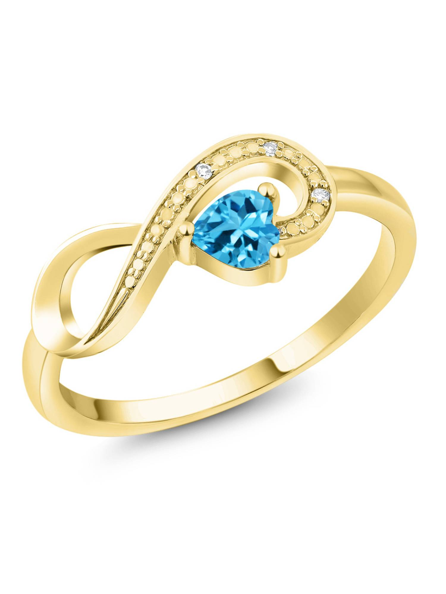 10K Yellow Gold 0.33 Ct Heart Shape Swiss Blue Topaz Diamond Infinity Ring by