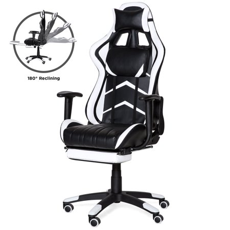 Best Choice Products Ergonomic High Back Executive Office Computer Racing Gaming Chair with 360-Degree Swivel, 180-Degree Reclining, Footrest, Adjustable Armrests, Headrest, Lumbar Support, White (Gaming Computer Chair)