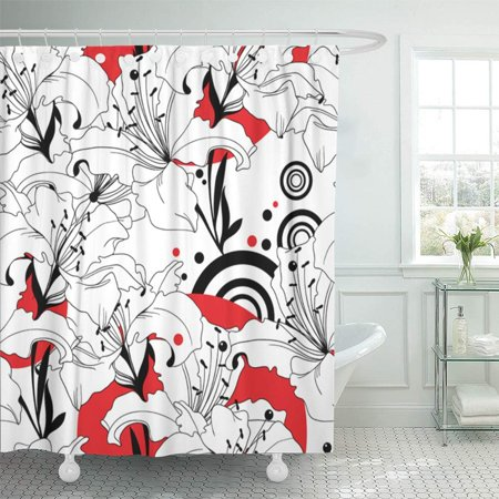 PKNMT Drawing Pattern from Black White and Red Lilies Floral Classic Ornaments Beauty Waterproof Bathroom Shower Curtains Set 66x72 inch