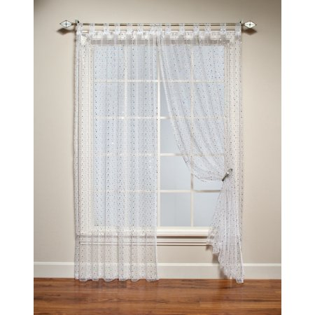 Your Zone Single Curtain Panel With Sequins White 50 X 63