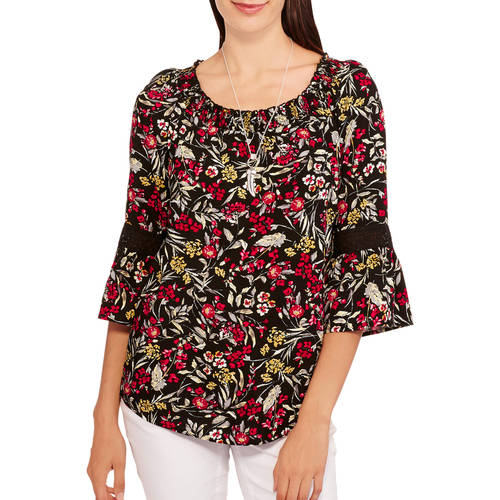 Faded Glory Women's Boho Inspired Bell Sleeve Peasant Top with Crochet Detail