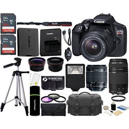 - Canon EOS Rebel T6 18MP Wi-Fi DSLR Camera with 18-55mm IS II Lens + EF 75-300mm III Lens + 2x SanDisk 32GB Card + Wide Angle Lens + Telephoto Lens + Flash + Grip + Tripod - 64GB Accessories Bundle