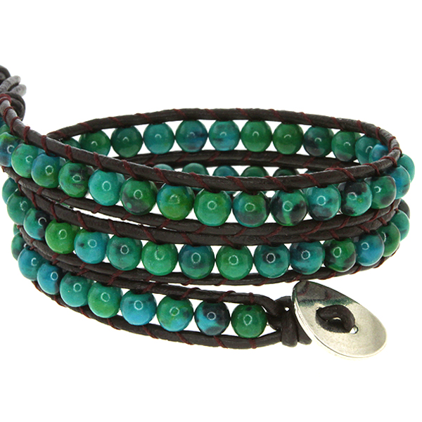 "21"" Blue/Green Beads on Dark Brown Leather Wrap Bracelet with Snap Button Lock"