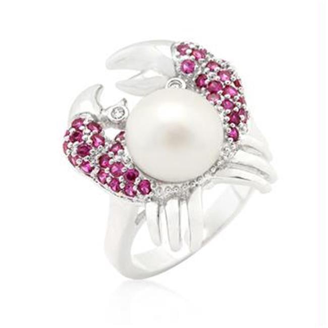 Pearl Crab CZ Ring, <b>Size :</b> 10