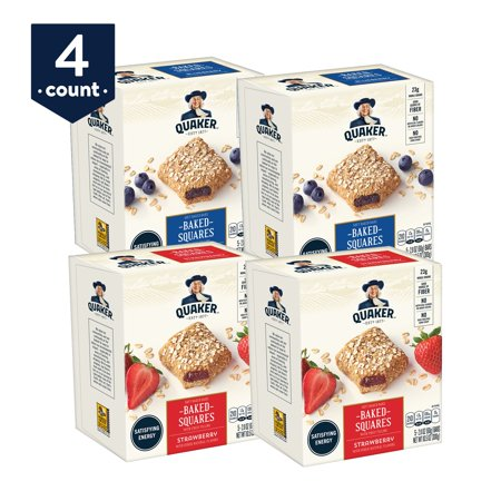 Quaker Baked Squares, Soft Baked Bars, Blueberry & Strawberry Variety Pack, 5 bars (Pack of