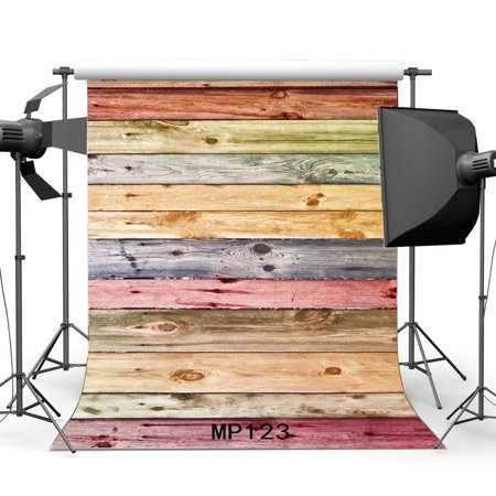 HelloDecor Polyster 5x7ft Wood Backdrop Multicolor Paint Stripes Wood Plank Shabby Chic Texture Graffiti Interior Decoration Wallpaper Photography Background Happy Birthday Party Photo Studio Props
