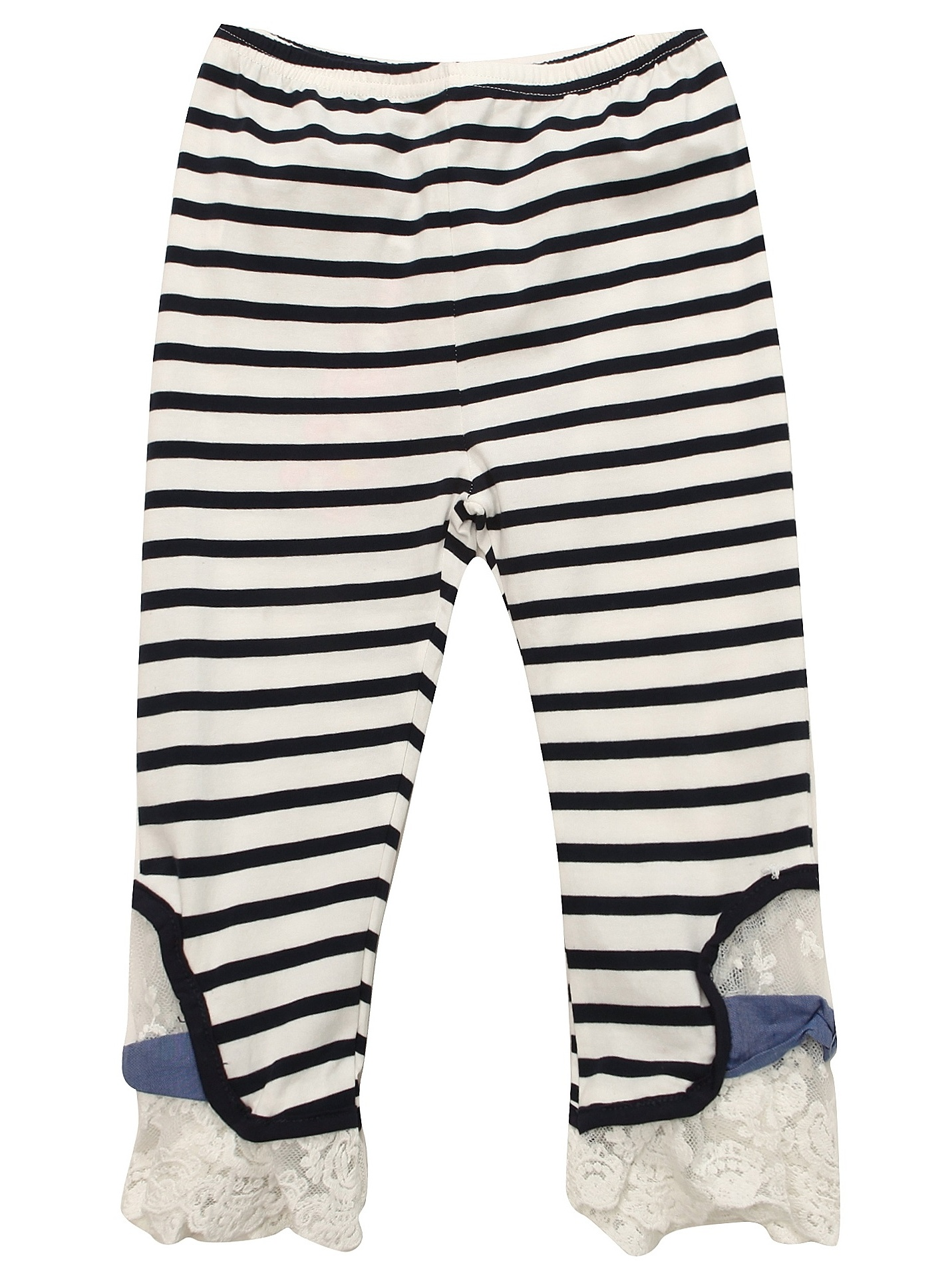 Richie House Girls' Knit Striped Pants with Lace Bottom RH1644