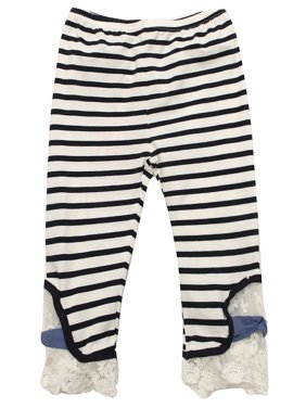 f1986357198ab Product Image Richie House Girls' Knit Striped Pants with Lace Bottom RH1644