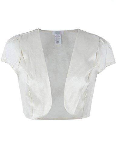 Fashion Secrets Juniors Satin Bolero Cardigan Shrug (Ivory, X-Large)