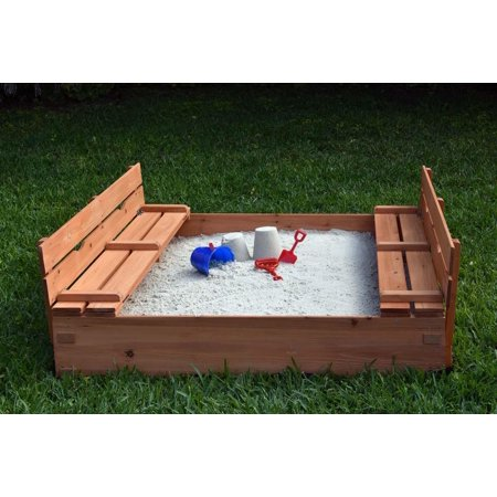 Naomi Home Kids Cedar Sandbox with 2 Benches